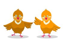 Two funny yellow chicken. royalty free illustration