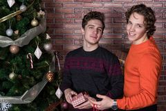 Two funny young men celebrating christmas