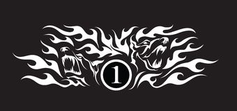 Two furious dogs faces in flames on black background. Tattoo style  illustration of two furious dogs faces in flames on black background Stock Photo
