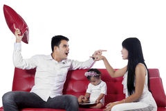 Two furious parents while quarreling Stock Photo
