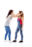 Two furious women fighting and screaming Stock Photos