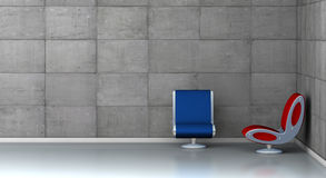 Two futuristic armchairs. One 3d render of an empty room with two futuristic armchairs Royalty Free Stock Photo