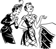 Two Gals With Antique Dresser Royalty Free Stock Photos