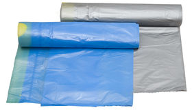 Two garbage plastic bags. With tie (silver and blue Royalty Free Stock Photography