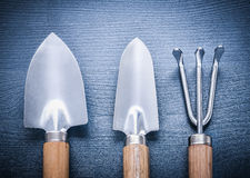Two garden spades and fork.  Royalty Free Stock Image