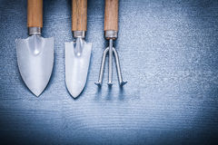 Two garden spades and fork.  Royalty Free Stock Photography