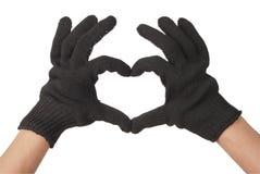 Two gardener hand in resistance glove Stock Photos