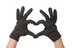 Two gardener hand in resistance glove Stock Photography