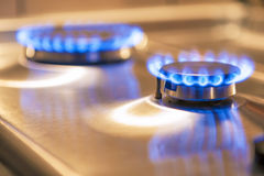 Two Gas Burners on Stove Surface Stock Photo