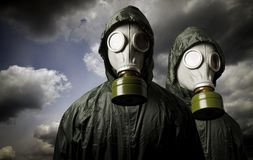 Two gas masks. Survival theme. Stock Images