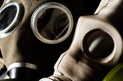 Two gasmask. With focus on the grey one royalty free stock images