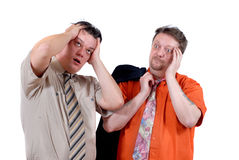 Two gasping men in despair Royalty Free Stock Images