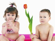 Two gay children in swimsuits Royalty Free Stock Photos