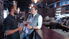 Two gay friends at the bar drinking beer. Cheerful company of guys and girl celebrating at the bar. The company has a rest after work. Cheerful company relax and stock footage