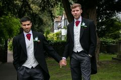 Gay couple of grooms pose for photographs after their wedding ceremony royalty free stock photos