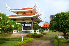 Two gazebos with quotations from the writings of Vietnam`s first President Ho Chi Minh at the memorial in his honor. Vungtau Royalty Free Stock Image