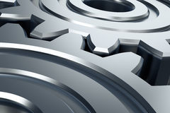 Two gear. Abstract gears. Industrial symbol. 3D illustration Stock Photo
