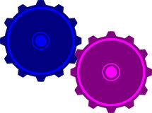 Two gear connection. This picture shows two connected gears Royalty Free Stock Photo
