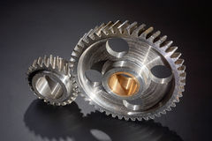 Two gear wheels in gearing Royalty Free Stock Photos