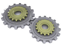Two gears. High quality rendering of a metal gears on white background Royalty Free Stock Photos