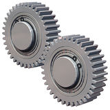Two Gears. 3D illustration of a two meshed gears with two bearings and c clips, isolated on white Stock Photo