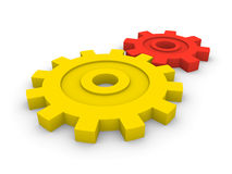 Two gears. Of different size and color Stock Photo