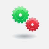 Two gears. Background with green gear and red Royalty Free Stock Photo
