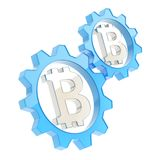 Two gears with a bitcoin sign inside Stock Image