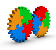 Two gears of colorful jigsaw puzzles Stock Photo