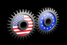 Two gears with the flags of usa and European union Stock Photography