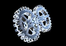 Two gears in glass (3D) Stock Photography