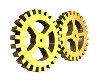 Two gears in gold (3D) Stock Photos
