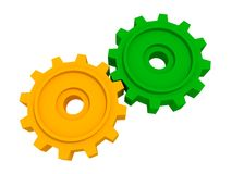 Two gears isolated object on white background Stock Photos