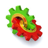 Two gears together 3d Royalty Free Stock Image