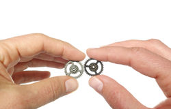 Two gears together Royalty Free Stock Images