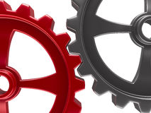 Two gears on white background Stock Photos
