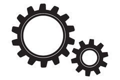 Two gears on a white royalty free stock images