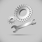 Two gears and wrench. Iron mechanic tools for your design Stock Photo