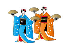 Two geisha girls posing with fans in hands Royalty Free Stock Photography