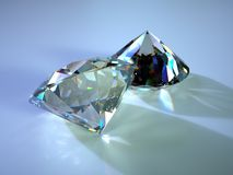Two gems with caustics. Placed on blue plane Royalty Free Stock Images