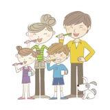 Two-genaration familj som tillsammans borstar tänder royaltyfri illustrationer