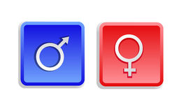 Two Gender Sign Buttons. Isolated - vector illustration royalty free illustration