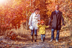Two Generation Family Walking in Autumnal Forest Front View. Two Generation Caucasian Family Walking in Colorful Autumnal Forest Alley Smiling Father Mother Royalty Free Stock Photo