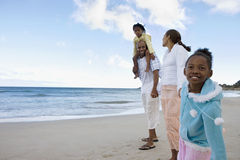 Two generation family walking on sandy beach, holding hands, smiling, side view, portrait (tilt) Stock Photo