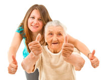 Two generation's thumbs up Royalty Free Stock Photos