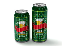 Two generic blank beer cans Royalty Free Stock Photos