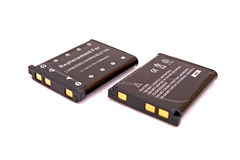 Two Generic Camera Batteries. Two units of Generic digital Camera Batteries perspective view royalty free stock photography