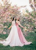 Two gentle, incredible elves walk in the fabulous cherry blossom garden. Princesses in luxurious, long, pink dresses stock photo