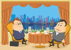 Two gentleman businessman in Restaurant Royalty Free Stock Photos