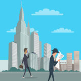Two Gentlemen Go on Business Downtown in New York Stock Photography